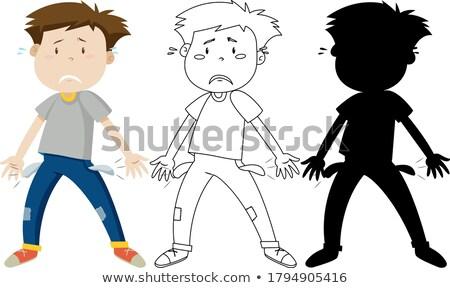 Man triest teleurgesteld silhouet illustratie kinderen Stockfoto © bluering