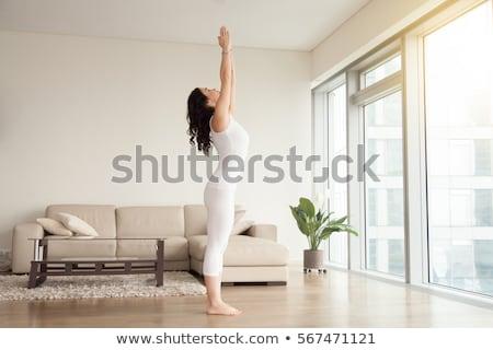 Young sporty fit woman doing Hatha Yoga asana in mountains Stock photo © dmitry_rukhlenko