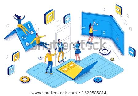 Okostelefon leszállás oldal pici üzletemberek rugalmas Stock fotó © RAStudio