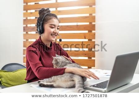 Gyönyörű fiatal iskolás lány dolgozik otthon szoba Stock fotó © Len44ik