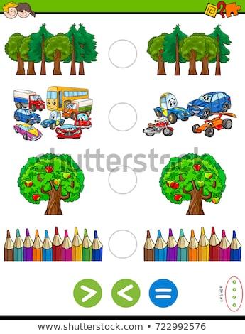 Menos igual tarefa veículos desenho animado ilustração Foto stock © izakowski