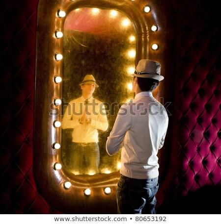 Retro man spiegel jonge man gezicht Stockfoto © ssuaphoto