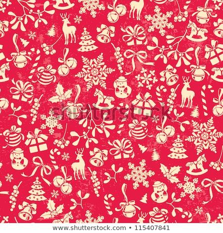 karácsony · végtelenített · minták · piros · zöld · végtelen · minta · papír - stock fotó © fenton