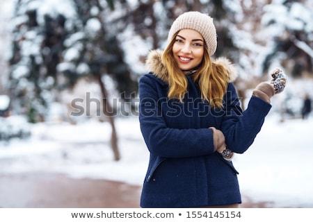 tél · nő · kalap · karácsonyfa · portré · hó - stock fotó © hasloo