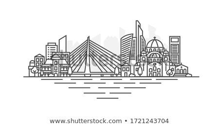 Belgrado · paisagem · cidade · Sérvia · ponte · reflexão - foto stock © simply