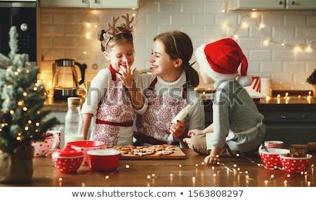 bela · mulher · bolinhos · natal · isolado · comida - foto stock © juniart