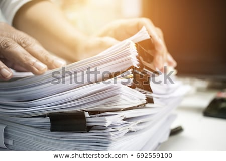 Stok fotoğraf: File Stack And Hand