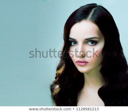Bella lungo sani capelli scuri bianco Foto d'archivio © RuslanOmega