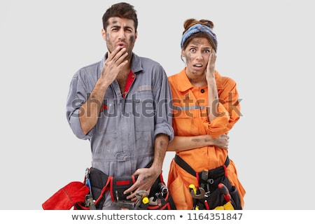female architect looking appalled and male builder Stock photo © photography33