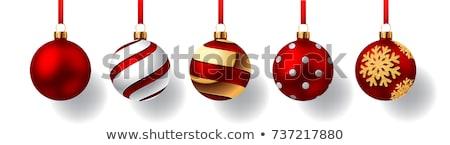 kırmızı · Noel · şerit · üç · süslemeleri - stok fotoğraf © sandralise