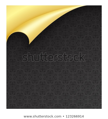 Black Paper with Vintage Texture and Curled Golden Corner stock photo © liliwhite