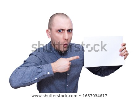 White hair businessman looking and holding a big white sign with a woman against white background stock photo © wavebreak_media