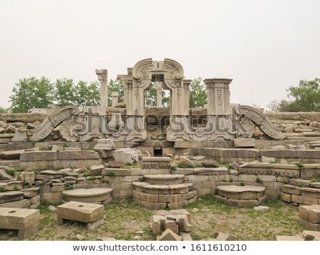 ancient ruins pillars old summer palace yuanming yuan beijing china stock photo © billperry