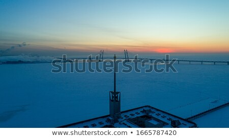 ストックフォト: ポート · 冬 · 島 · 雪 · ボート · 船