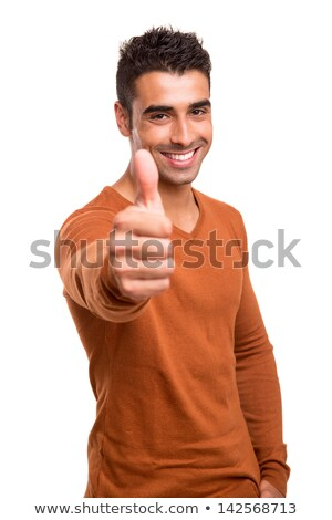 portrait of a young man thumbs up isolated on white stock photo © luckyraccoon