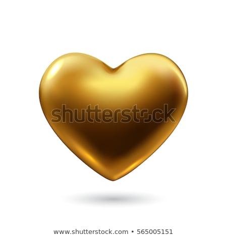 arany · szív · izolált · fehér · 3D · szimbólum - stock fotó © 123dartist