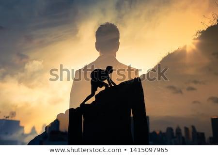 Kadın tırmanmak aşağı dağ zarif Stok fotoğraf © silent47