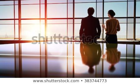 Сток-фото: две · женщины · глядя · Windows · два · улице
