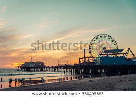 santa monica california sunset on pier ferrys wheel stock photo © lunamarina
