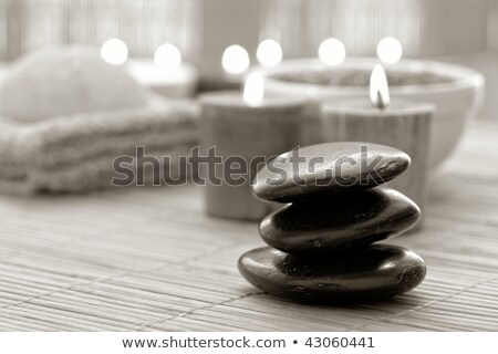 Stock photo: Session spa pile zen stones burning candles