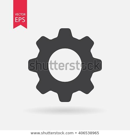 Beállítások ikon mechanizmus 3D kép fehér Stock fotó © AnatolyM