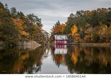 Lago primavera vermelho reflexão Foto stock © Mps197