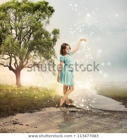 Little girl in the brook Stock photo © konradbak