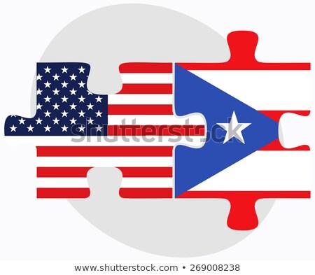 EUA Puerto Rico banderas rompecabezas vector imagen Foto stock © Istanbul2009