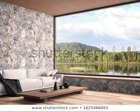 Beautiful Mountain Lake View From Window Stock photo © feverpitch