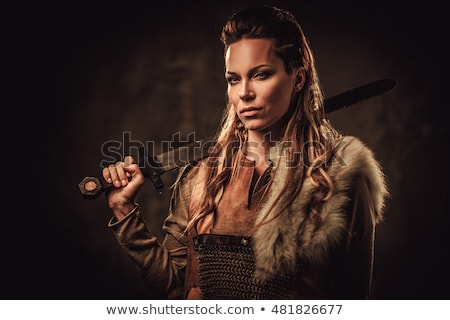 Guerrier femme coucher du soleil fille sombre Photo stock © MilanMarkovic78