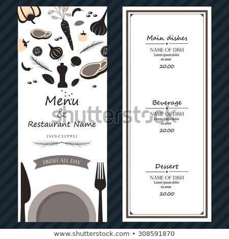 Illustration blanche plaque fourche couteau sombre Photo stock © gigra