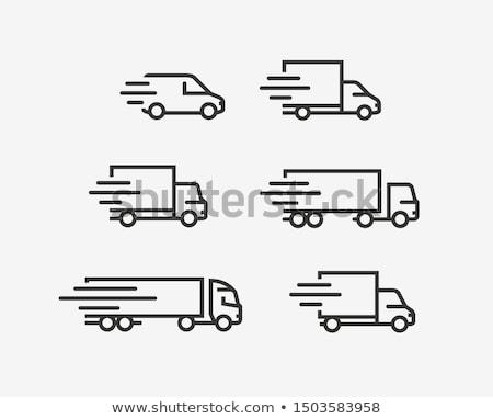 Foto d'archivio: Camion · di · consegna · line · icona · web · mobile · infografica