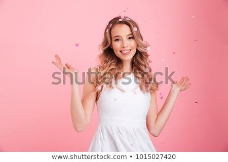 0f4a0dfcc5f195 Jonge · vrouw · roze · jurk · geïsoleerd · witte · jonge - stockfoto ...
