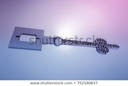 The key is a maze, on a gray gradient background. stock photo © teerawit