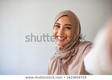 Kadın poz objektif stüdyo portre genç kadın Stok fotoğraf © filipw
