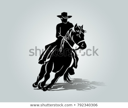 Sketches of a man riding a horse Stock photo © bluering