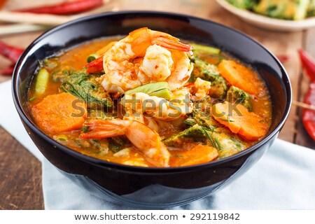 Crevettes épicé soupe orange dîner repas Photo stock © M-studio