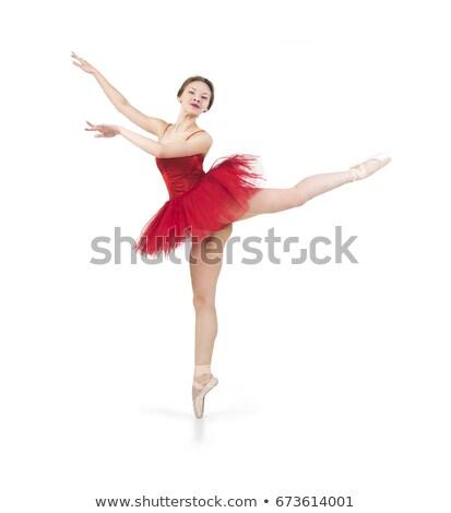 ballerina · rode · jurk · prachtig · jonge · balletdanser - stockfoto © adam121