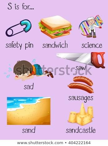 kolbászok · kártya · kolbász · vacsora · hús · reggeli - stock fotó © bluering