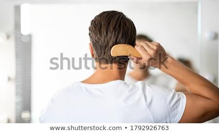 volwassen · man · hoofdhuid · massage · meisje · handen · achtergrond - stockfoto © simply