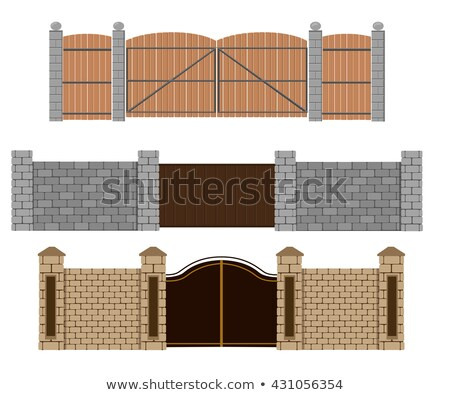 seamless fence design with stones and wood stock photo © bluering