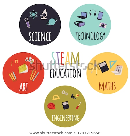 Stem education poster design with science equipments Stock photo © bluering
