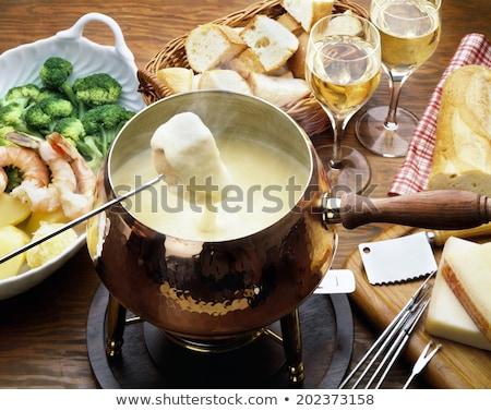 チーズ · 食品 · ワイン · 表 · パン · ディナー - ストックフォト © m-studio