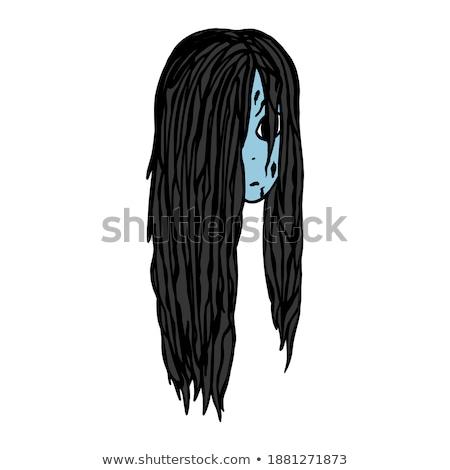 Bruxa zumbi isolado menina cabelos longos ilustração Foto stock © MaryValery