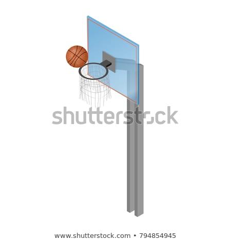 kosárlabda · pajzs · kosár · izometrikus · izolált · fehér - stock fotó © kup1984