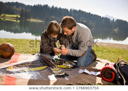Boy and father put together a Kite Stock photo © IS2