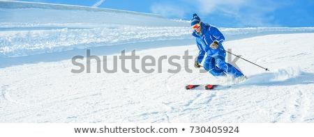 Esquiador cabeça para baixo neve homem esportes Foto stock © IS2
