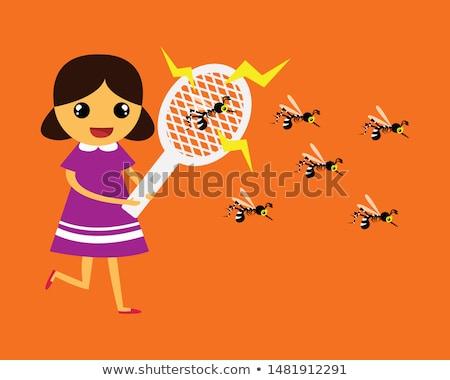 Kid Boy Fly Swatter Stock photo © lenm