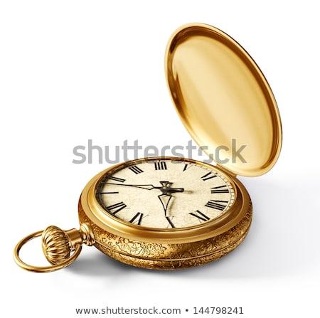 vintage · relógio · de · bolso · isolado · branco · mãos · relógio - foto stock © brozova
