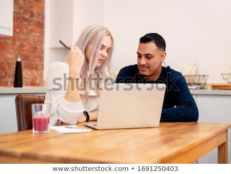 paar · vergadering · home · vrouw · gelukkig - stockfoto © monkey_business